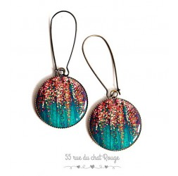 Earrings, turquoise and pink gold, sequin, epoxy resin, bronze, woman's jewelry
