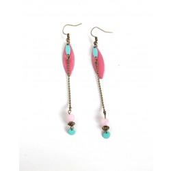 Boucles d'oreilles long pendant, rose poudré, sequin émaillé rose, bronze, bijoux pour femme