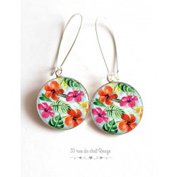 Earrings, exotic pattern, hibiscus, colorful, silver, woman's jewelry