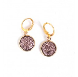 Earrings, cabochon 3D glitter, gold pink, gold, woman jewelry