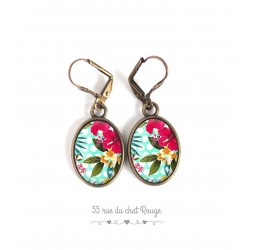 Earrings, oval, Exotic Floral Pattern, tropical, bronze, woman's jewelry
