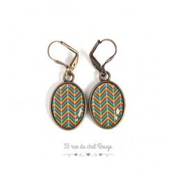 Earrings, Oval, Pattern mutlicouleur herringbone, geometric, bronze, woman's jewelry