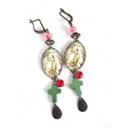 Boucles d'oreilles, cabochon 18x25 mm, inspiration religieuse, Vierge Marie, Croix, bronze, bijoux pour femme