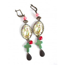 Earrings, cabochon 18x25 mm, religious inspiration, Virgin Mary, Cross, Bronze, Women's jewelry