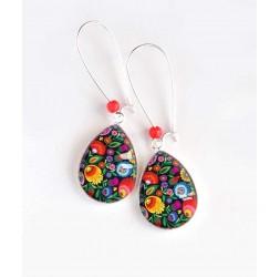 Boucles d'oreilles, goutte, fleur mutlicouleur, folkore russe, argentées, bijoux pour femme