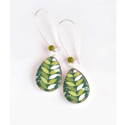 Earrings, drop, geometric foliage, green and white, silver, woman's jewelry