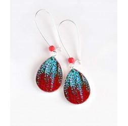Boucles d'oreilles, goutte, paillette bleu ciel, et rouge, argentées, bijoux pour femme