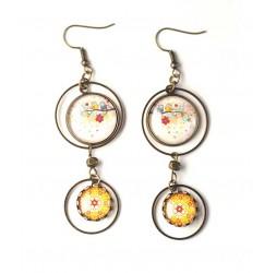 Boucles d'oreilles, double cabochon, hiboux sur branche, couleur printemps, bronze, bijoux pour femme