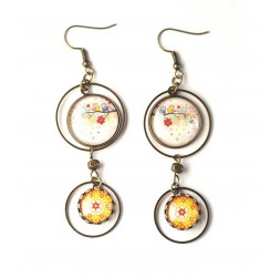 Earrings, double cabochon, owls on branch, spring color, bronze, woman's jewelry