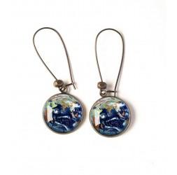 Boucles d'oreilles, planète terre, univers, bleu, vert, bronze, bijoux pour femme