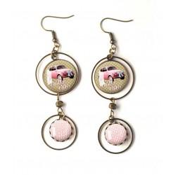 Earrings, double cabochon dolce vita, Fiat 500 pink, bronze, woman's jewelry