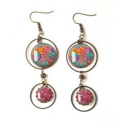 Boucles d'oreilles, double cabochon, Bohême, fleuri, gypsy, multicouleur, bronze, bijoux pour femme