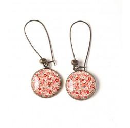 Earrings, flower pattern, pink beige tones, pastels, bronze, woman's jewelry