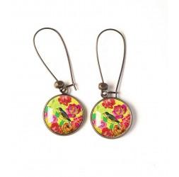 Boucles d'oreilles, motif inspiration japon, fleur rouge, oiseaux, jaune, bronze, bijoux pour femme