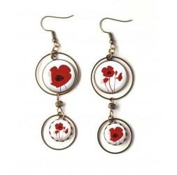 Boucles d'oreilles, double cabochon, coquelicots rouge, blanc, bronze, bijoux pour femme