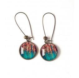 Boucles d'oreilles, paillette rose gold et velour turquoise, bronze, bijoux pour femme