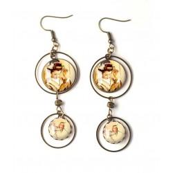 Boucles d'oreilles, double cabochon, geisha, japon, petit oiseau, beige, marron, bronze, bijoux pour femme