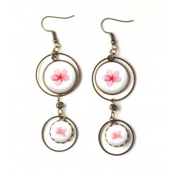 Earrings, double cabochon pink flowers, romantic, pink and white, bronze, woman's jewelry