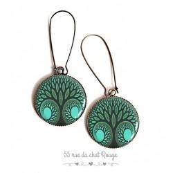 Boucles d'oreilles, arbre de vie, tons verts, résine époxy, bronze, bijoux pour femme