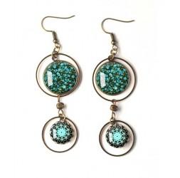 Earrings, double cabochon flowery Liberty style, peacock blue, mandala, white, bronze, woman's jewelry