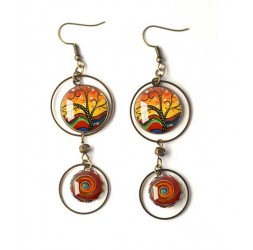 Earrings, double cabochon, tree of life, shades of brown and brick red, white, bronze, woman's jewelry