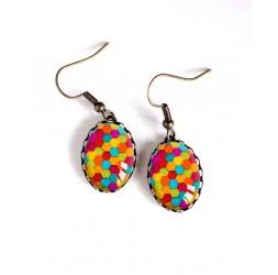 Boucles d'oreilles, ovale, patchwork coloré, bonbons acidulés, bronze, bijoux pour femme