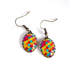 Earrings, oval, colorful patchwork, sweets, bronze, woman's jewelry