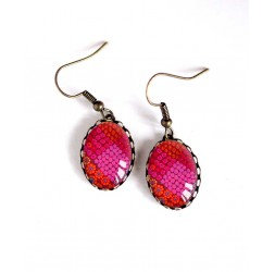 Earrings, oval, floral, red fuchsia and orange, bronze, woman's jewelry