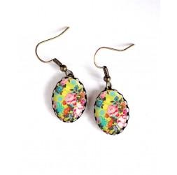 Boucles d'oreilles, ovale, rétro, floral, japon, jaune, fleur rose, bronze, bijoux pour femme