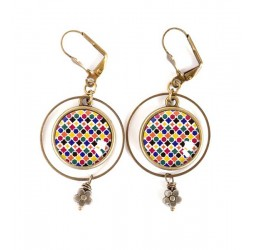 Earrings, Moroccan mosaic, blue red yellow, bronze, woman's jewelry