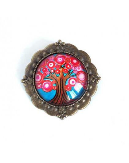 Broche cabochon, Arbre de vie, fushia et turquoise, bronze