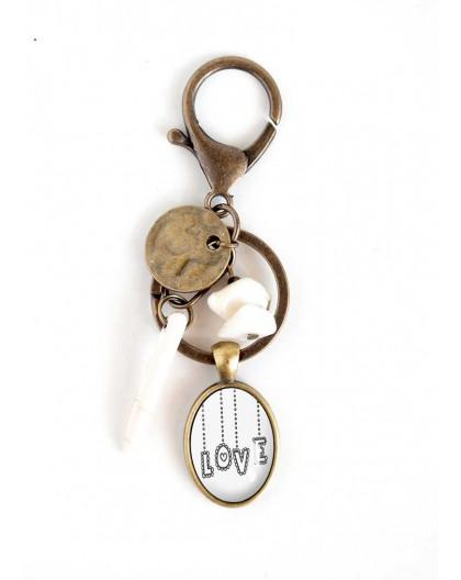 Porte Clé cabochon, Message LOVE, nacre, blanc, bronze