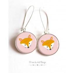 Boucles d'oreilles, petit renard, rose et orange, résine époxy, argentées, bijoux pour femme