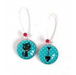 Boucles d'oreilles, rondes, Petit chat et son poisson, turquoise, argentées, bijoux pour femme