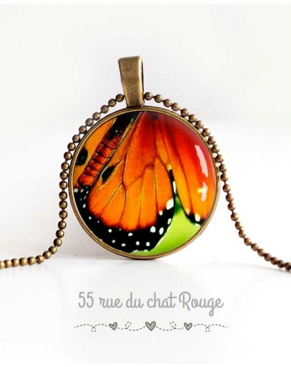 cabochon pendant necklace, butterfly wing, green, orange and black, women's jewelry