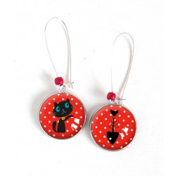 Earrings, Round, Little cat and fish, red, silver, woman's jewelry