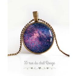 cabujón collar pendiente, la galaxia, estrellas, universo,, joyería de la mujer azul violeta
