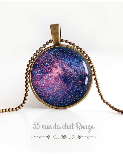 cabochon pendant necklace, Galaxy, stars, universe, violet blue, woman's jewelry