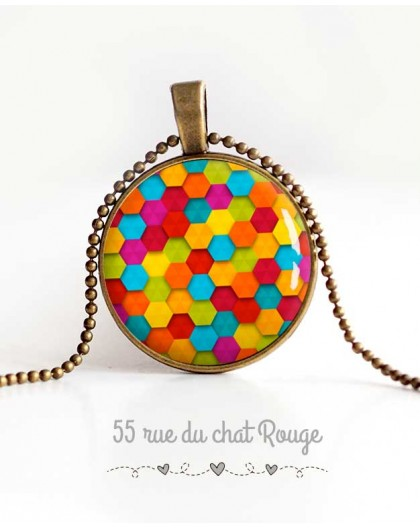 cabochon pendant necklace, colorful patchwork, sweets, woman's jewelry