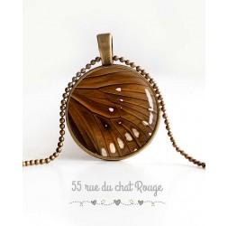 Collier pendentif cabochon, aile de papillon, marron et beige, bijoux pour femme