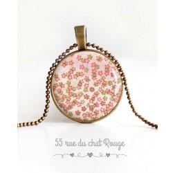 Collier pendentif cabochon, petites fleurs, rose vert printemps, bijoux pour femme