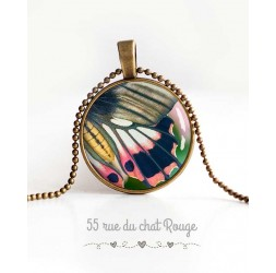 cabochon pendant necklace, butterfly wing, pink and gray, spring green, woman's jewelry
