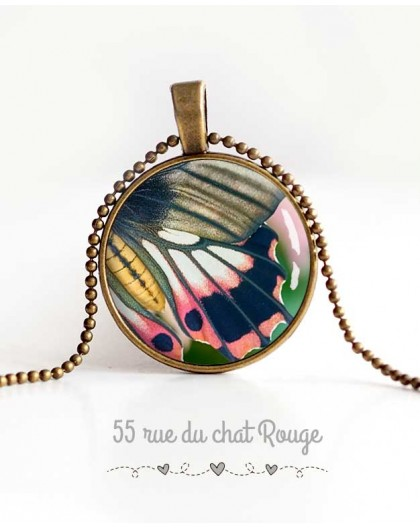 Cabochon Halskette, Schmetterlingsflügel, rosa und grau, frühlingsgrün, Frau Schmuck