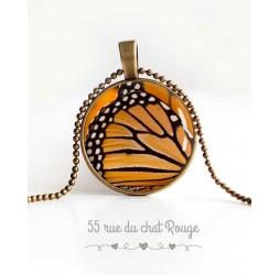 Collier pendentif cabochon, aile de papillon, orange et noir, bijoux pour femme