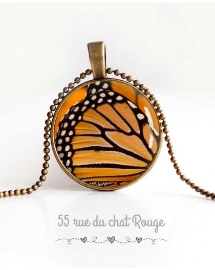 cabujón collar pendiente, alas de mariposa, naranja y negro, joyería de las mujeres