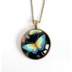 Cabochon pendant necklace, turquoise and black butterfly, bronze