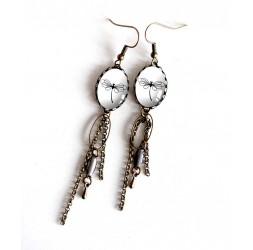 Boucles d'oreilles, pendants, cabochon libellule, noir et blanc, bronze