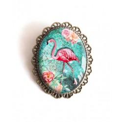 Broche, Flamant rose, turquoise, fleurs, tropical, bronze