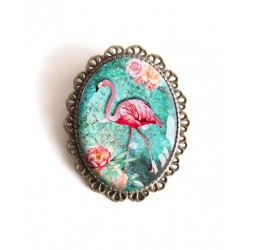 Pin, Flamingo, turquoise, flowers, tropical, bronze