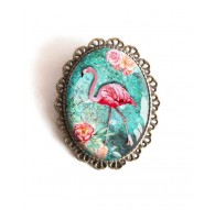 Broche, Flamant rose, turquoise, fleurs, tropical, bronze